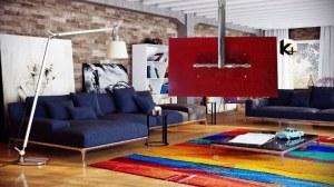 Suporte tv teto vidro vermelho kasa